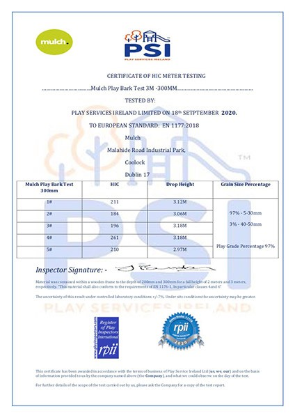 1-PSI Certificate Of Hic testing Mulch Play Bark Test 3M -300MM